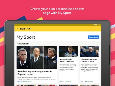 screenshot of BBC Sport version Varies with device