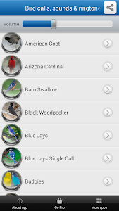 screenshot of Bird Calls, Sounds & Ringtones version 1.9.9