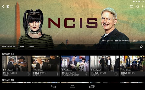 screenshot of CBS Full Episodes and Live TV version 3.9.0
