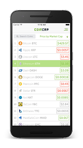 screenshot of CoinCap.io version 1.3.2