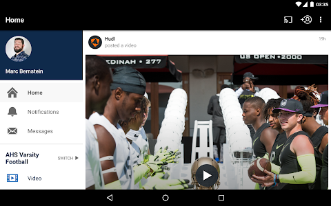screenshot of Hudl version Varies with device