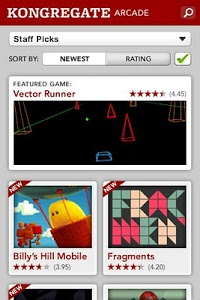 screenshot of Kongregate Arcade version 2.0.8