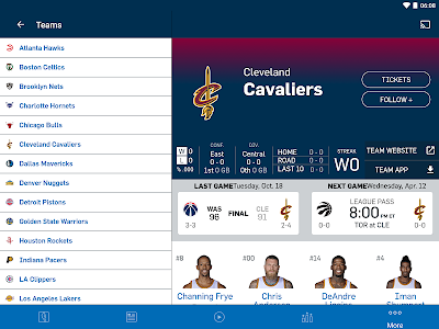 screenshot of NBA version 2016.2.3