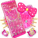 Lovely Pink Kitty Diamond Glitter Bowknot Theme
