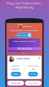 screenshot of QuizPoint - Play Live Trivia & Win Money version 1.09
