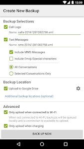 screenshot of SMS Backup & Restore version Varies with device