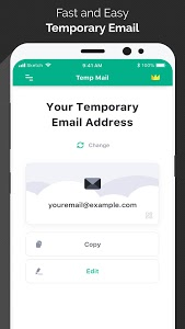 screenshot of Temp Mail - Temporary Disposable Email version 1.42
