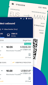 screenshot of Trainline: Find & Buy Cheap Train & Bus Tickets version Varies with device