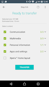 screenshot of Xperia™ Transfer Mobile version 2.2.A.4.28