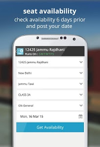 screenshot of indian rail train info hotels version 2.8.5