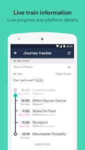 screenshot of Trainline UK - The Leading Train and Bus app version Varies with device